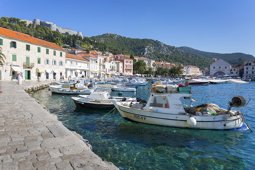 Harbour and Spanish Fortress, Hvar, Hvar Island, Dalmatia, Croatia, Europe