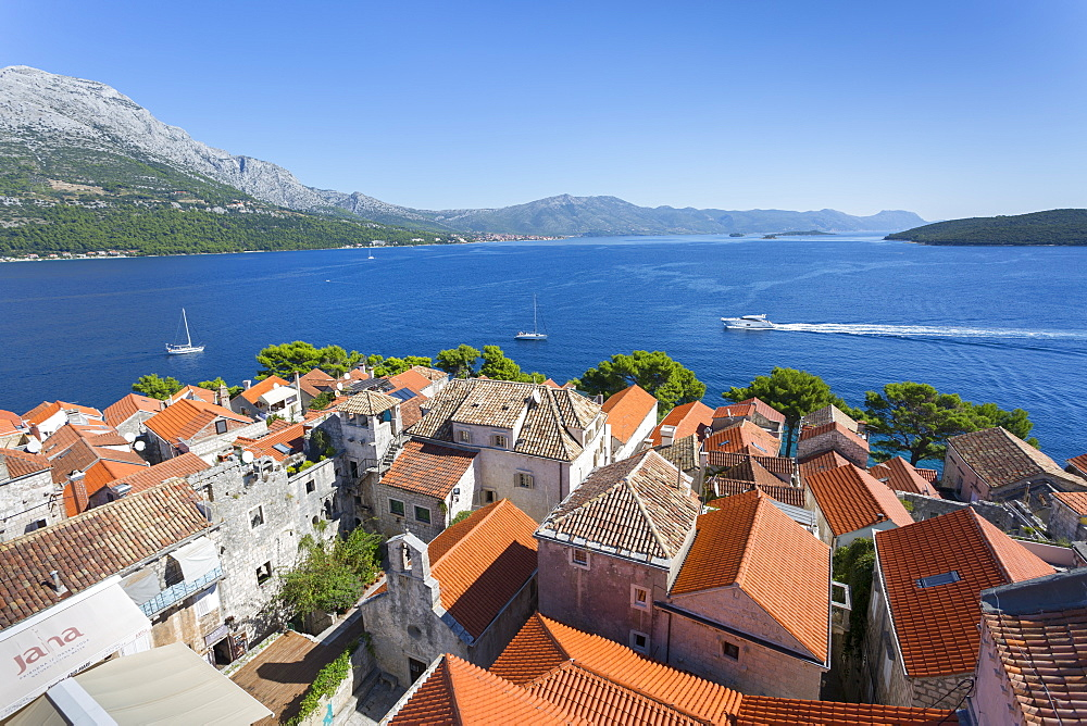 View from Katedrala Svetog Marka, in Korcula Town, Korcula, Dalmatia, Croatia, Europe