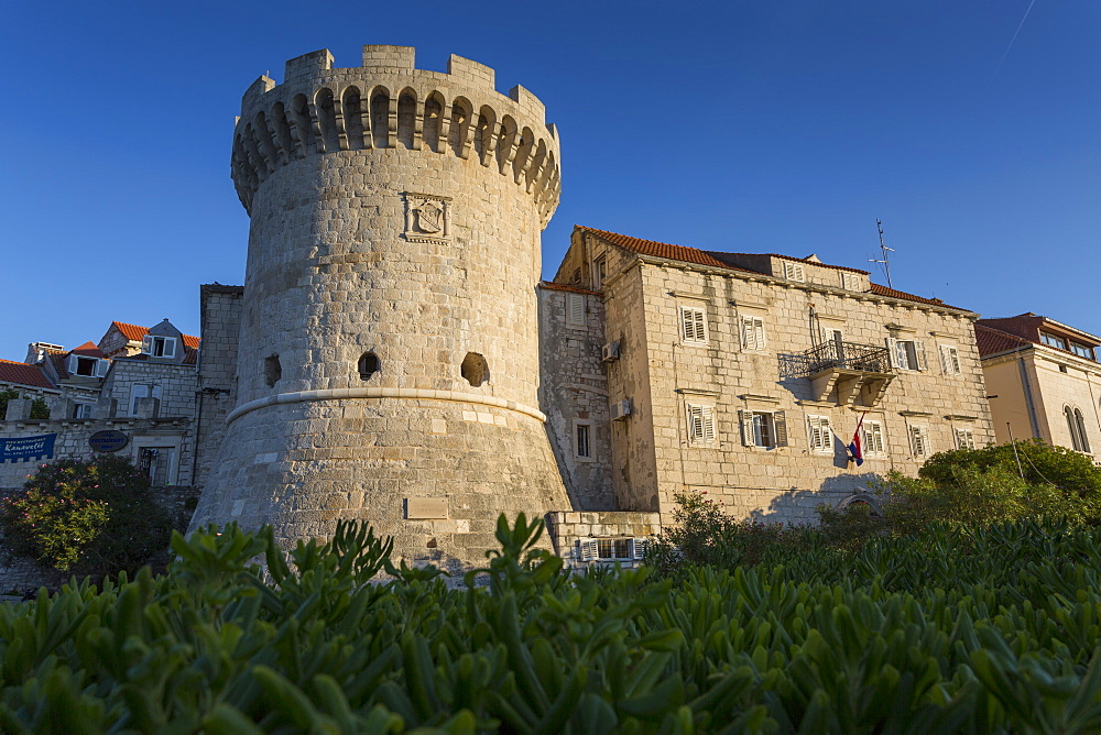 Fortress Tower in Korcula Town, Korcula, Dalmatia, Croatia, Europe