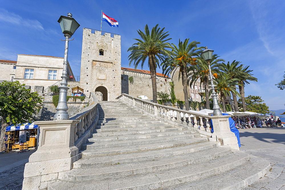 Town Gate, Korcula Town, Korcula, Dalmatia, Croatia, Europe