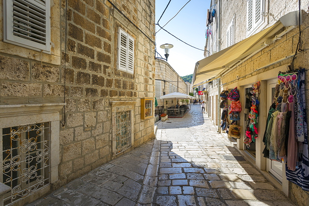 Narrow streets of Korcula Town, Korcula, Dalmatia, Croatia, Europe