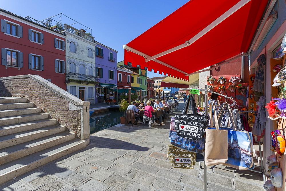 Restaurant and souvenir bags, Burano, Veneto, Italy, Europe