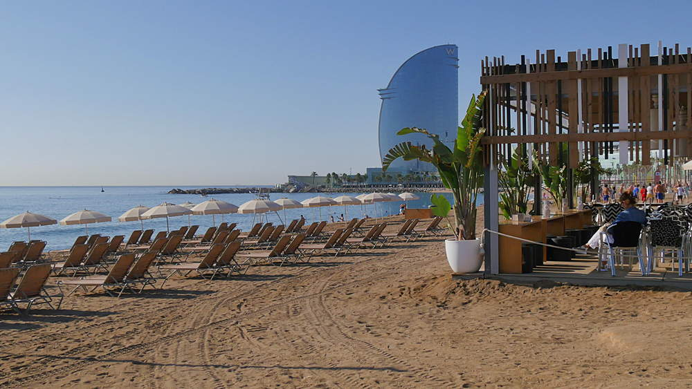 Beach and Hotel W Barcelona, Barcelona, Catalonia, Spain, Europe