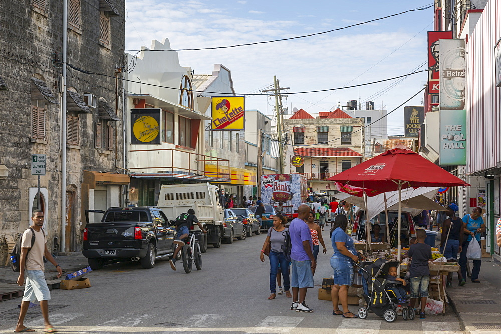 Street scene, Bridgetown, St. Michael, Barbados, West Indies, Caribbean, Central America