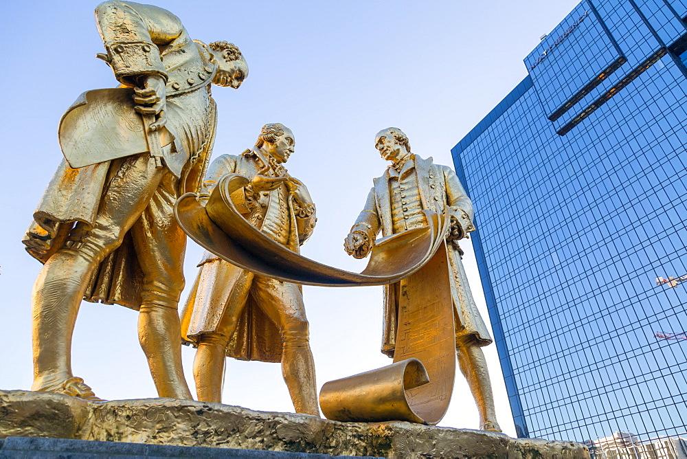 Boulton, Murdoch and Watt Statue, Birmingham, West Midlands, England, United Kingdom, Europe