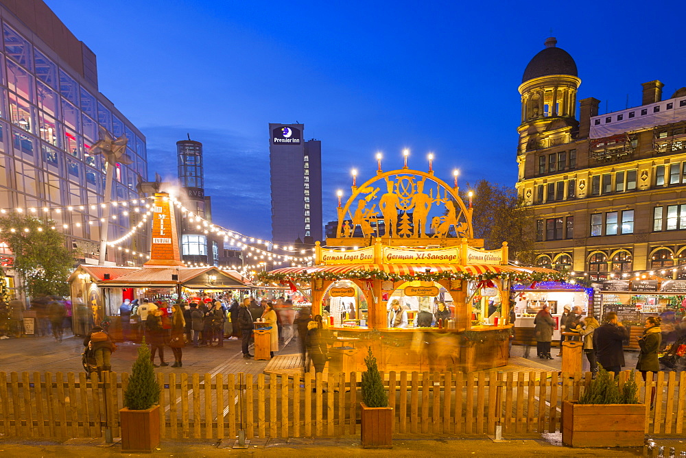 Christmas Market on Exchange Square, Manchester, England, United Kingdom, Europe