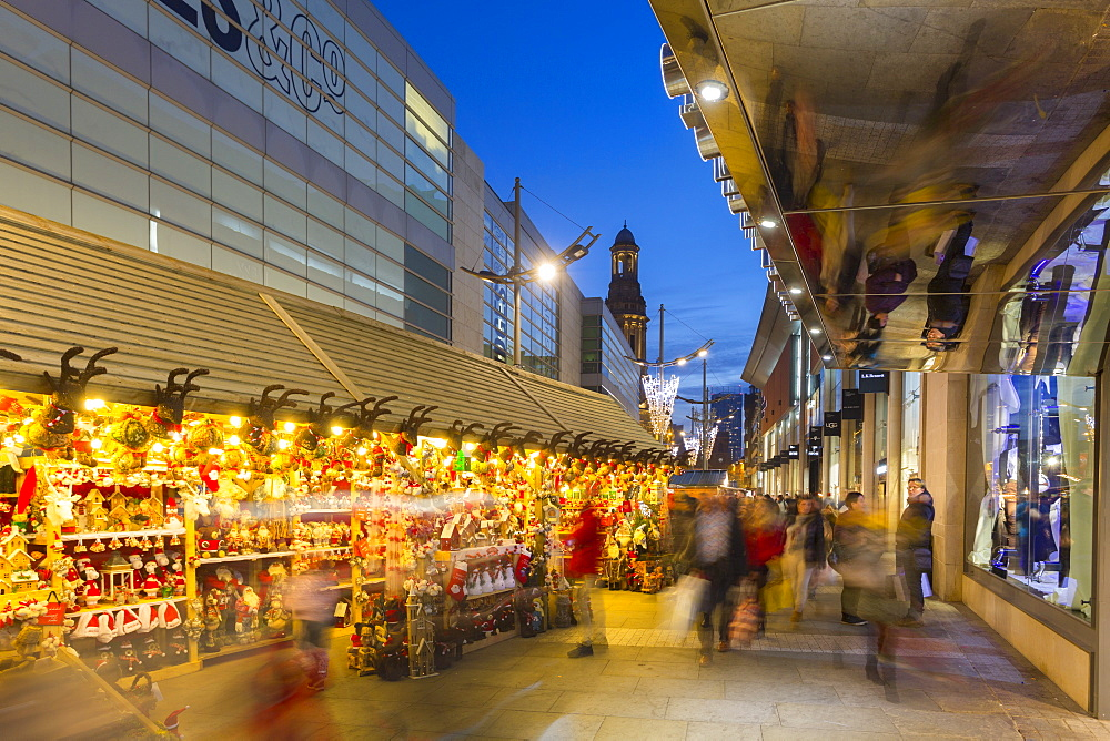Christmas Market on New Cathedral Street, Manchester, England, United Kingdom, Europe