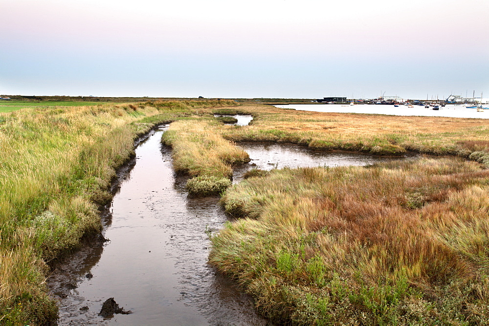 Aldeburgh Marshes and Slaughden Quay at dusk, Suffolk, England, United Kingdom, Europe - 845-1008