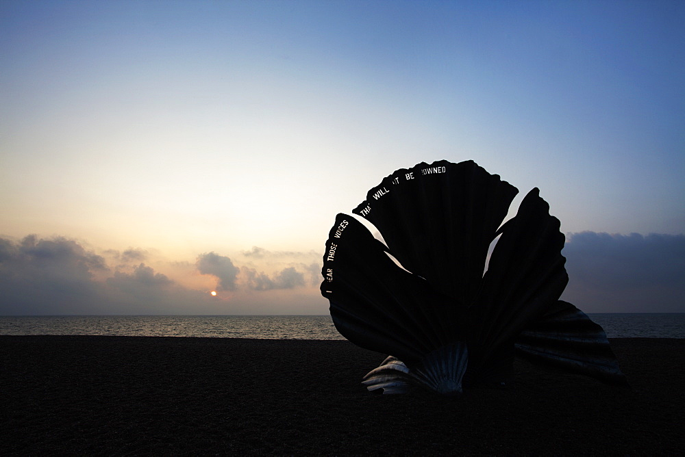 The Scallop Sculpture on Aldeburgh Beach at sunrise, Aldburgh, Suffolk, England, United Kingdom, Europe - 845-1010