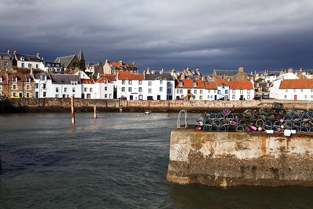 Stormy skies over St. Monans Harbour, Fife, Scotland, United Kingdom, Europe - 845-1037