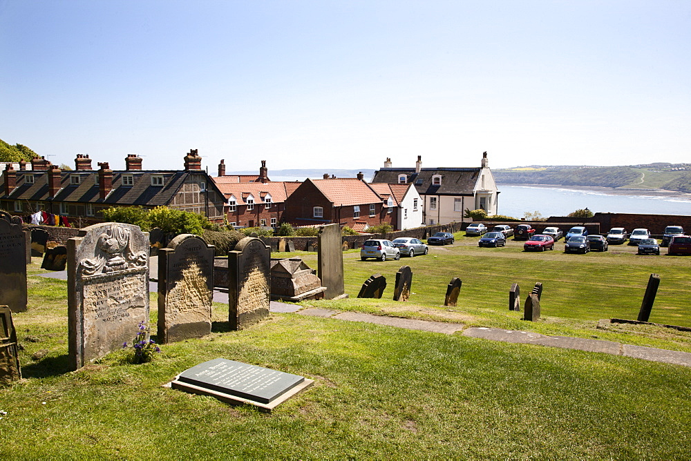 The setting of Anne Bronte's grave on Castle Hill overlooking South Bay, Scarborough, North Yorkshire, Yorkshire, England, United Kingdom, Europe