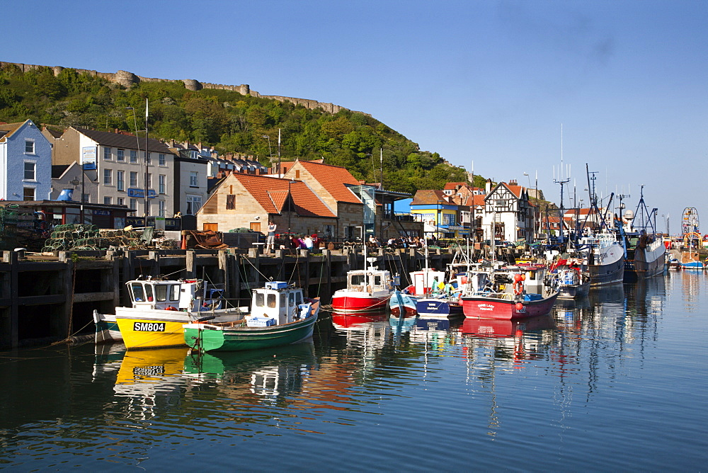 Fishing boats in the harbour, Scarborough, North Yorkshire, Yorkshire, England, United Kingdom, Europe
