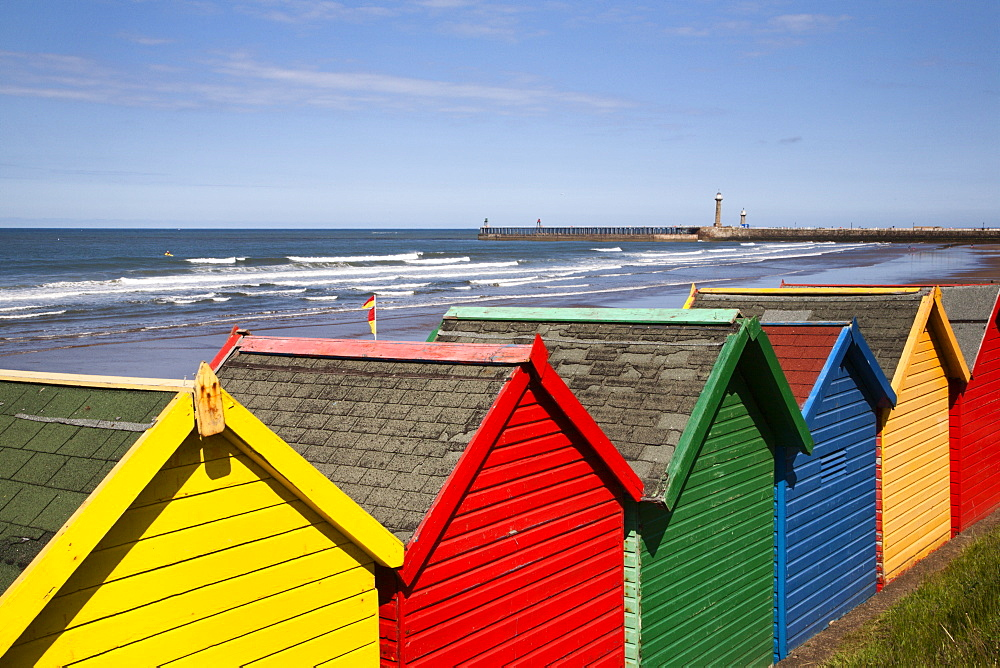 Beach huts at Whitby Sands, Whitby, North Yorkshire, Yorkshire, England, United Kingdom, Europe