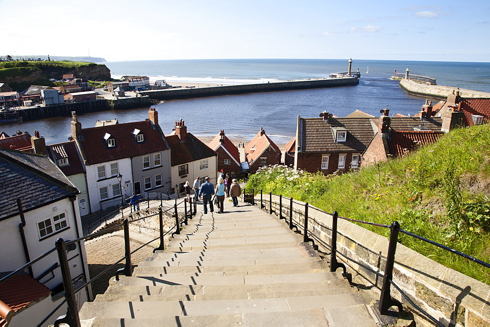 The 199 Steps in Whitby, North Yorkshire, England, United Kingdom, Europe