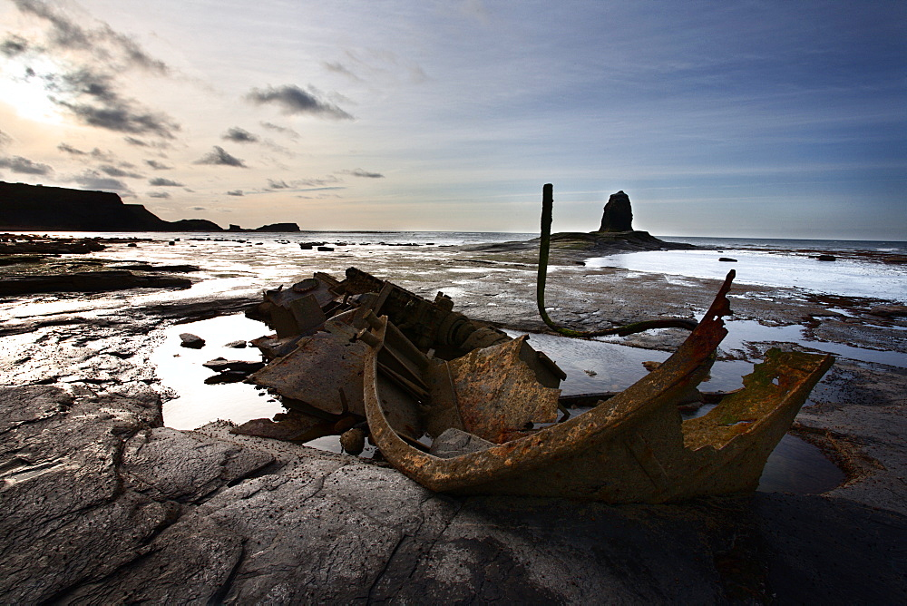 Old wreck and Black Nab at Saltwick Bay, near Whitby, North Yorkshire, Yorkshire, England, United Kingdom, Europe