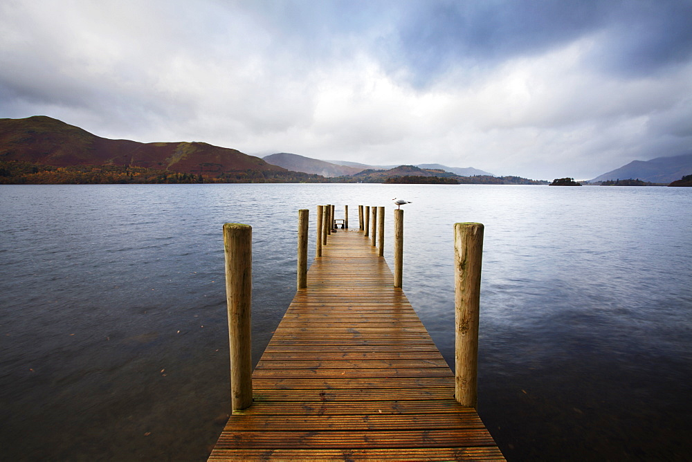 Landing stage on Derwentwater, Lake District National Park, Cumbria, England, United Kingdom, Europe