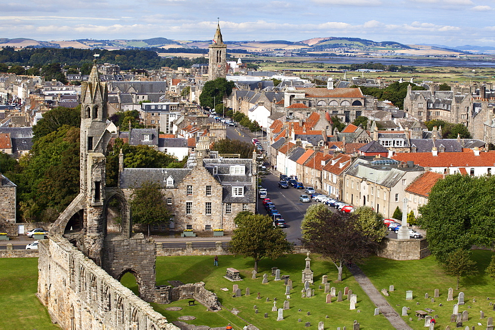 St. Andrews from St. Rules Tower at St. Andrews Cathedral, St. Andrews, Fife, Scotland, United Kingdom, Europe
