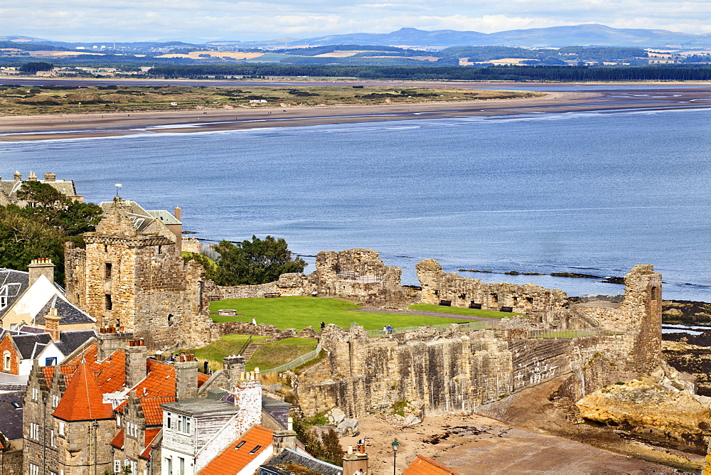 St. Andrews Castle and West Sands from St. Rules Tower at St. Andrews Cathedral, St. Andrews, Fife, Scotland, United Kingdom, Europe