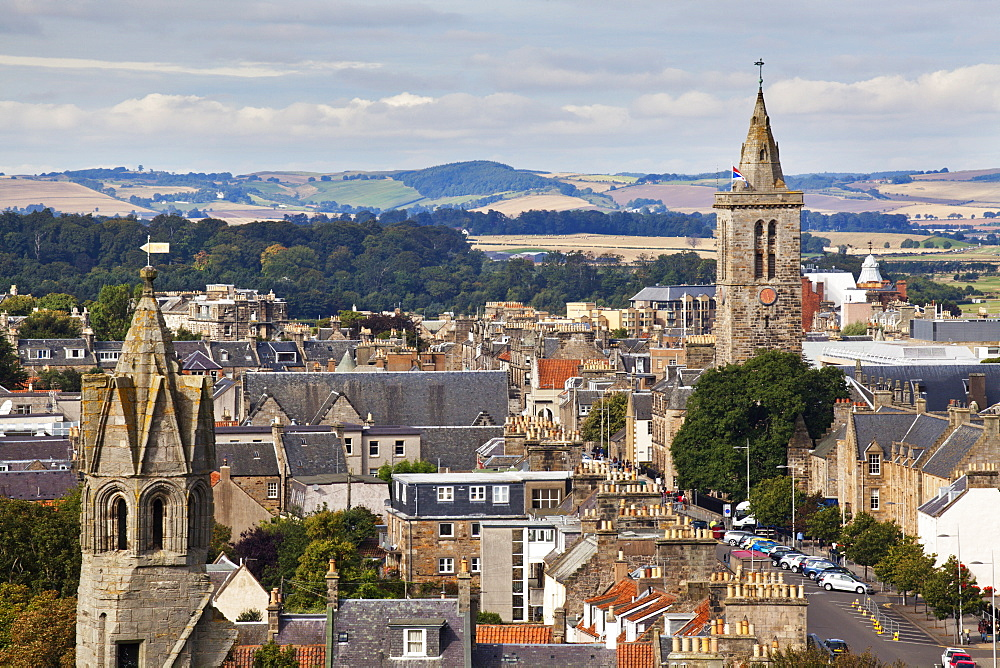 St. Salvators College from St. Rules Tower at St. Andrews Cathedral, St. Andrews, Fife, Scotland, United Kingdom, Europe