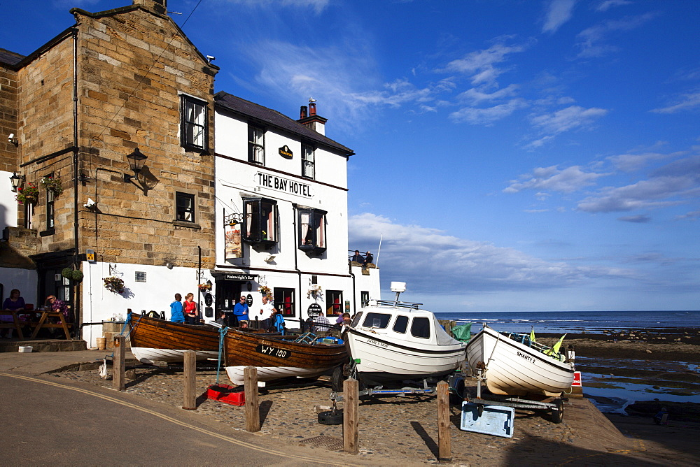 Fishing Boats on The Dock at Robin Hoods Bay, Yorkshire, England, United Kingdom, Europe - 845-989