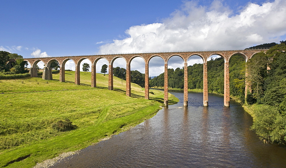 The nineteenth century arched Leaderfoot Viaduct over the River Tweed in the Scottish Borders, Scotland, United Kingdom, Europe