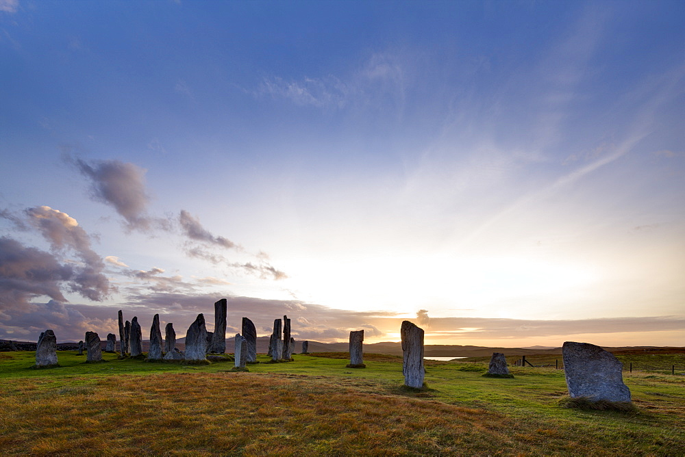 Sunset at Callanish stone circle on the Hebridean island of Lewis, Outer Hebrides, Scotland, United Kingdom, Europe