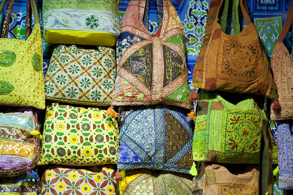 Embroidered bags for sale at the Sharia el Souk market in Aswan, Egypt, North Africa, Africa