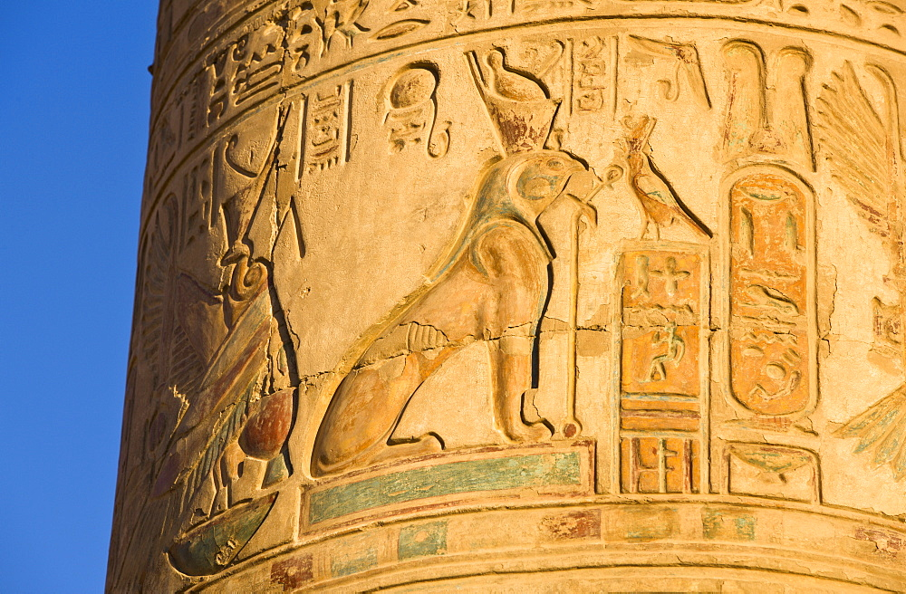 Painted pillar at the Temple of Sobek and Haroeris, Kom Ombo, Egypt, North Africa, Africa
