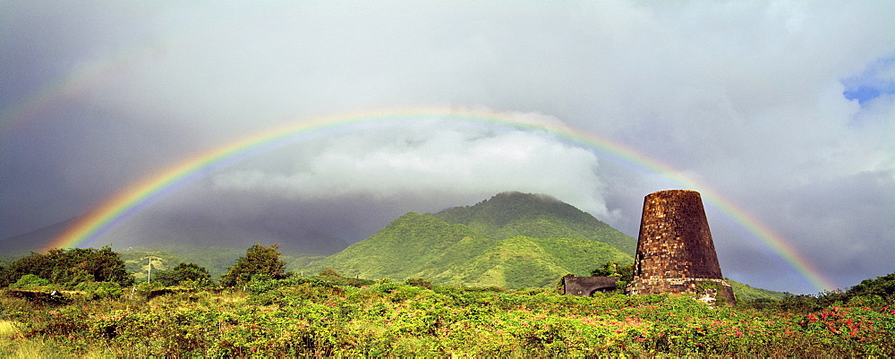 Rainbow over the Coconut Walk sugar mill ruins on the Island of Nevis, Leeward Islands, West Indies, Caribbean, Central America