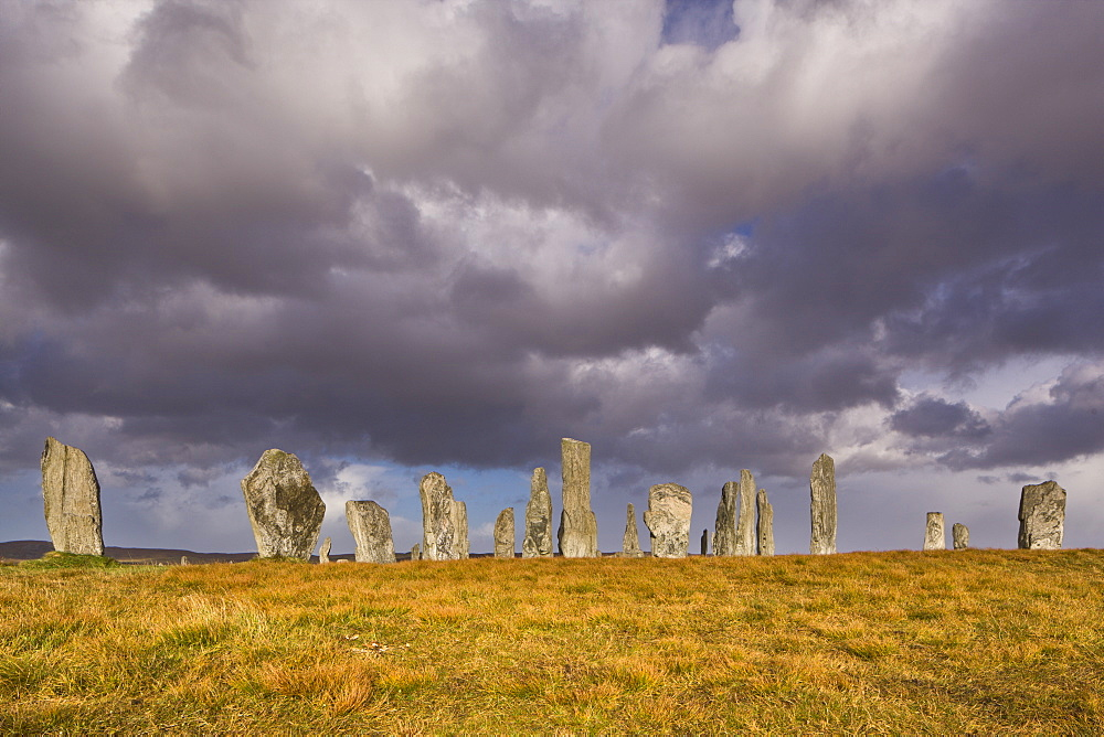 Showery weather at Callanish Stone Circle, Isle of Lewis, Outer Hebrides, Scotland, United Kingdom, Europe