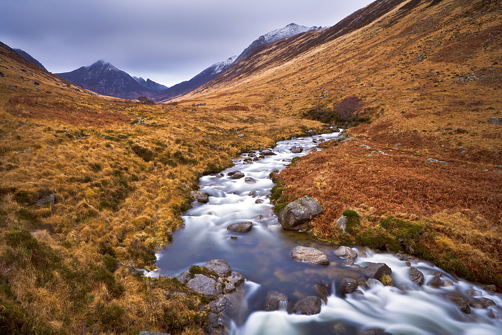 Glen Rosa Water, with Cir Mhor and Goat Fell peaks ahead, Isle of Arran, Scotland, United Kingdom, Europe