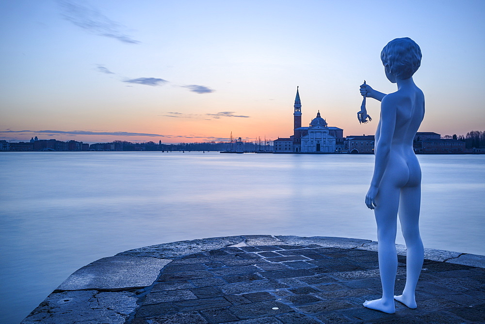 Charles Ray's Boy with Frog statue on the tip of Zattere at sunrise, Venice, UNESCO World Heritage Site, Veneto, Italy, Europe - 847-422
