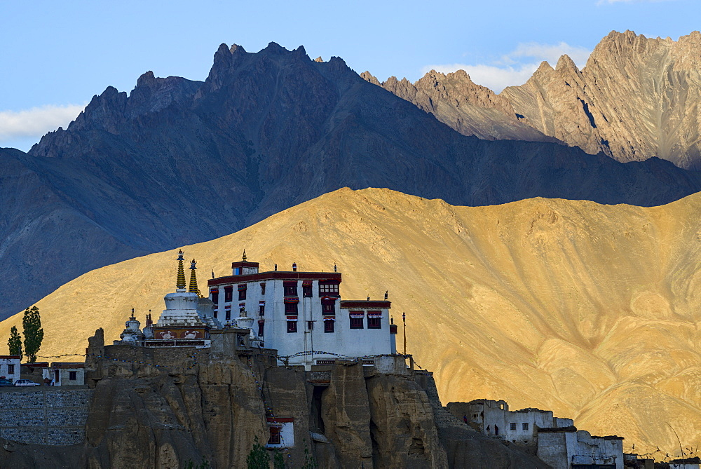 The dramatic mountain setting of Lamayuru monastery, Ladakh, Himalayas, India, Asia
