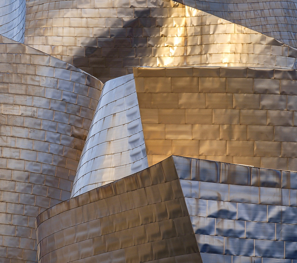 The titanium facade of the Guggenheim in Bilbao, Biscay, Basque Country, Spain, Europe