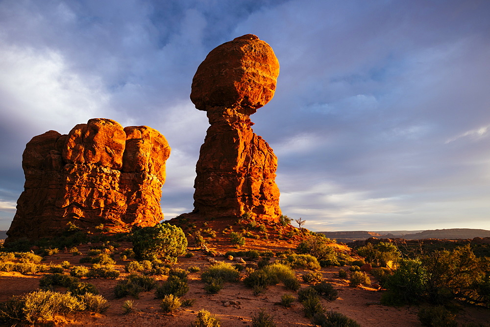 Balanced Rock at dusk, Arches National Park, Utah, United States of America, North America