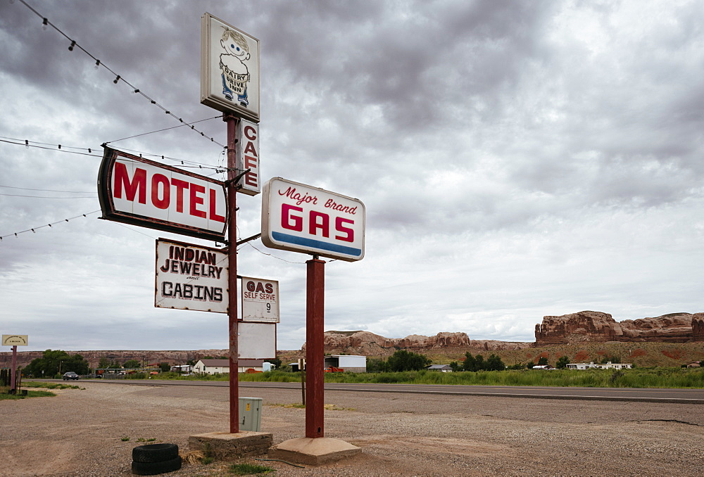 Motel and Gas Station on Highway 163, Utah, United States of America, North America