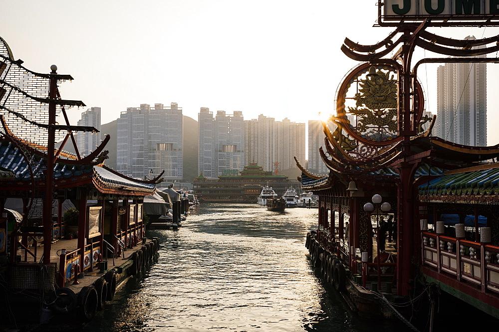 Aberdeen Harbour at sunset, Hong Kong Island, China, Asia