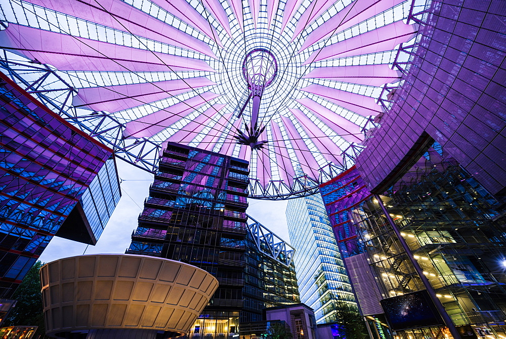 Central forum glass ceiling of the Sony Centre illuminated at night, Potsdamer Platz, Berlin, Germany, Europe