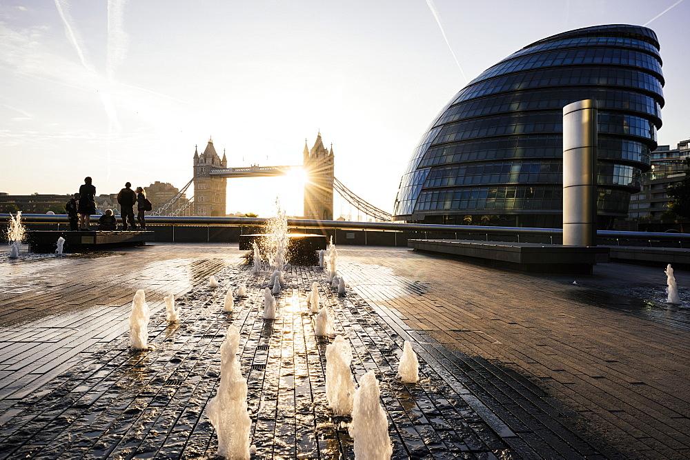 Sunrise behind Tower Bridge and The Mayor's Building (City Hall), London, England, United Kingdom, Europe - 848-1086