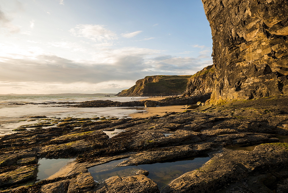Druidston Haven Beach at dusk, Pembrokeshire Coast National Park, Wales, United Kingdom, Europe