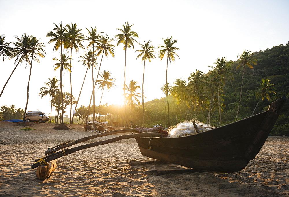 Dawn light at Agonda beach, Goa, India, South Asia