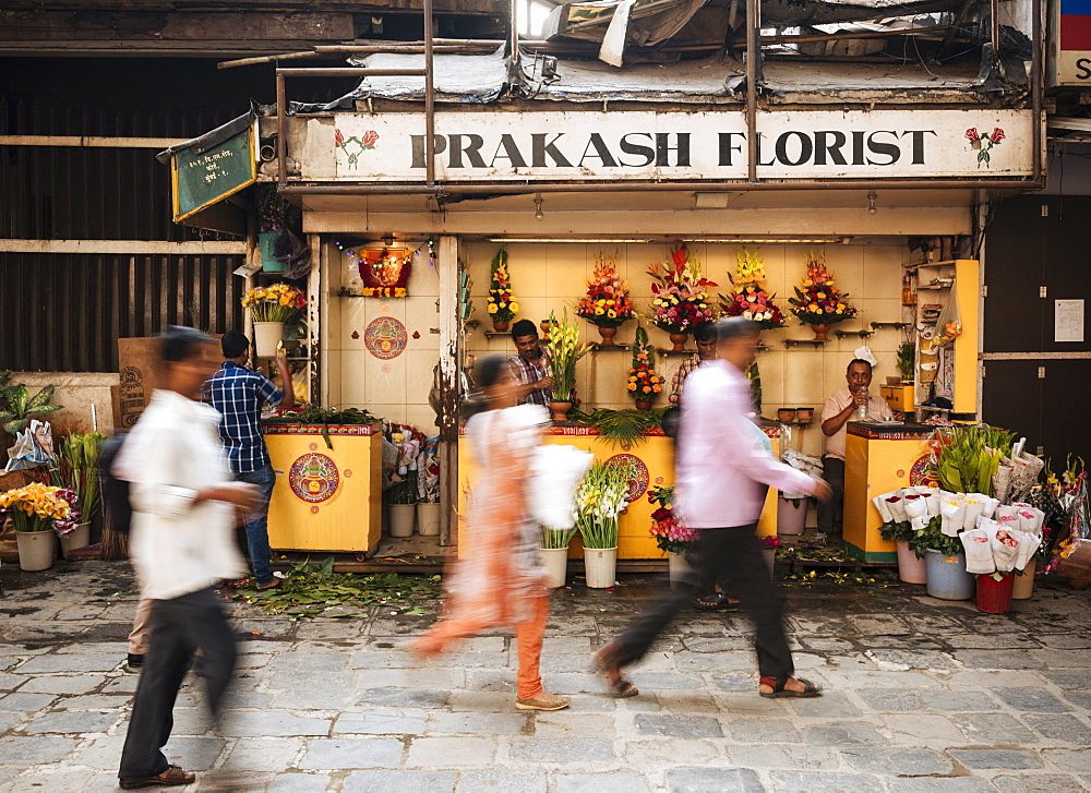 Exterior of florist shop, Mumbai, India, South Asia