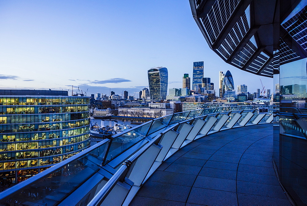 View from City Hall rooftop over City of London skyline, London, England, United Kingdom, Europe - 848-1157