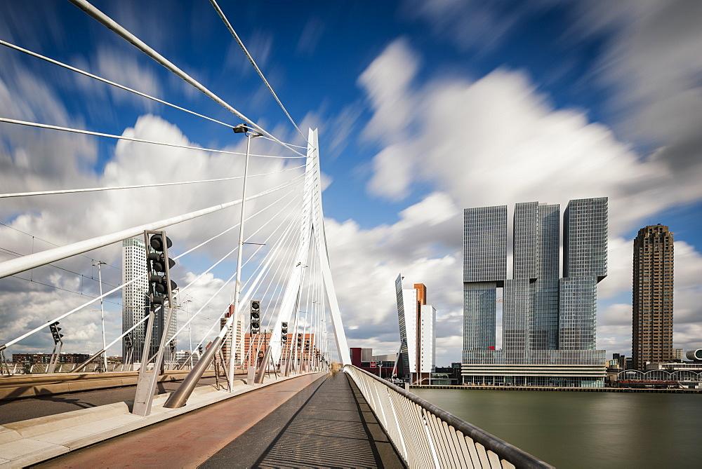 Erasmus Bridge and De Rotterdam, Wilhelminakade, Rotterdam, Netherlands, Europe