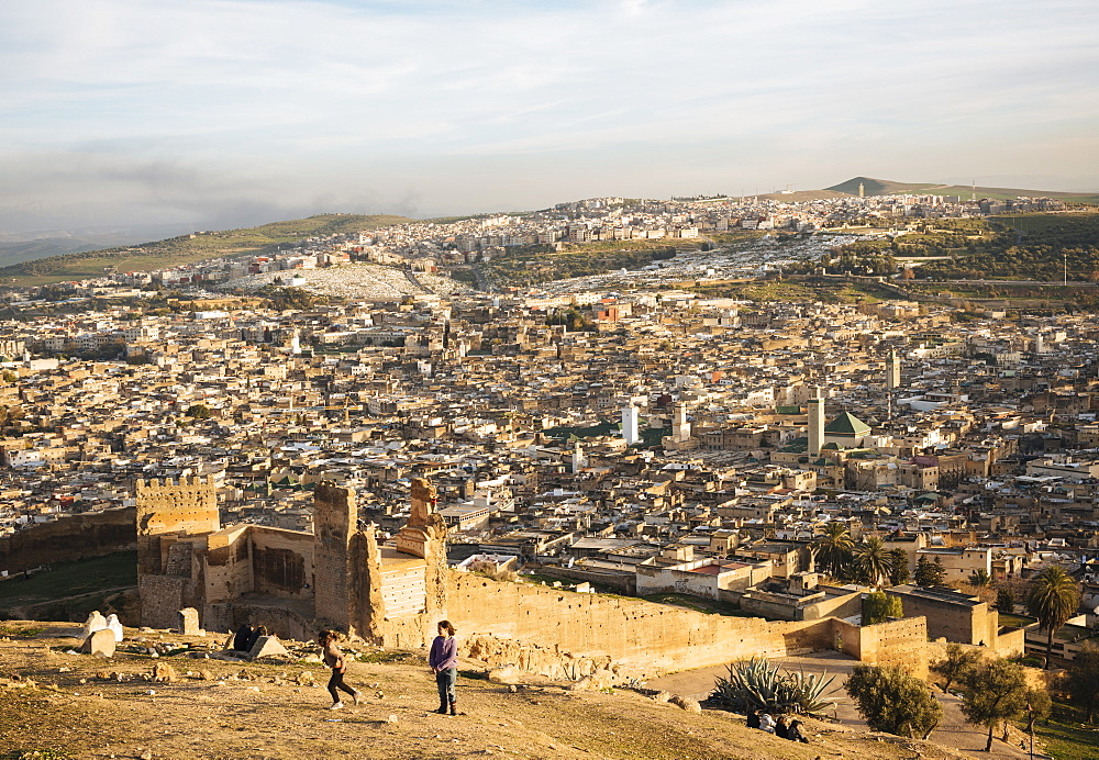 View from Mérinides tombs at sunset, Fes, Morocco, North Africa