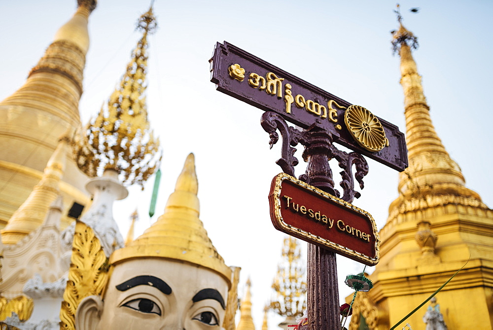 Planetary post at Shwedagon Pagoda, Yangon (Rangoon), Myanmar (Burma), Asia