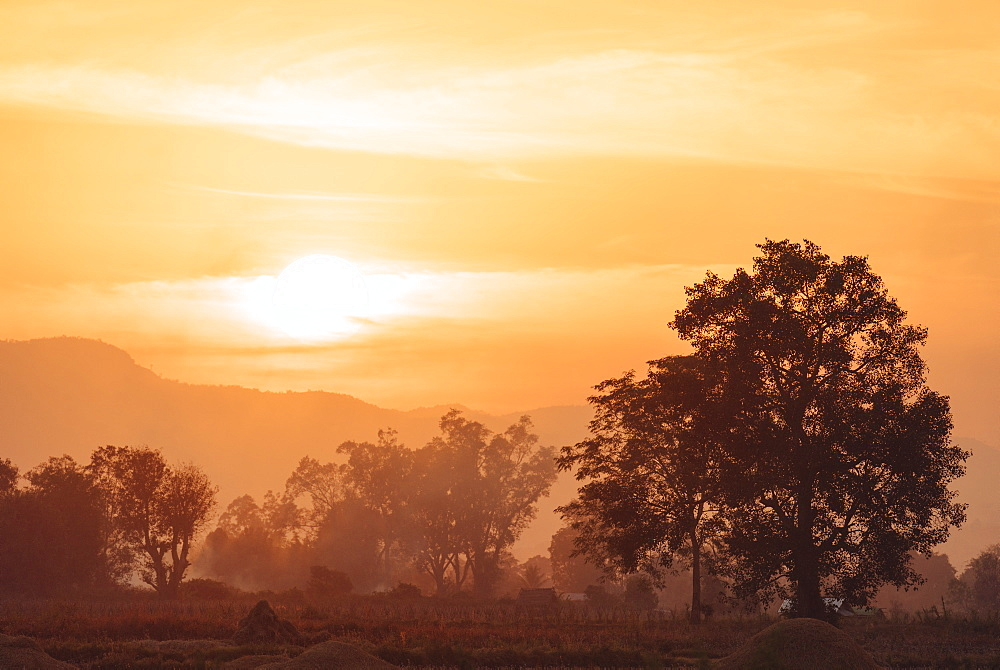 Sunset over Paddy fields near Hsipaw, Shan State, Myanmar, Asia