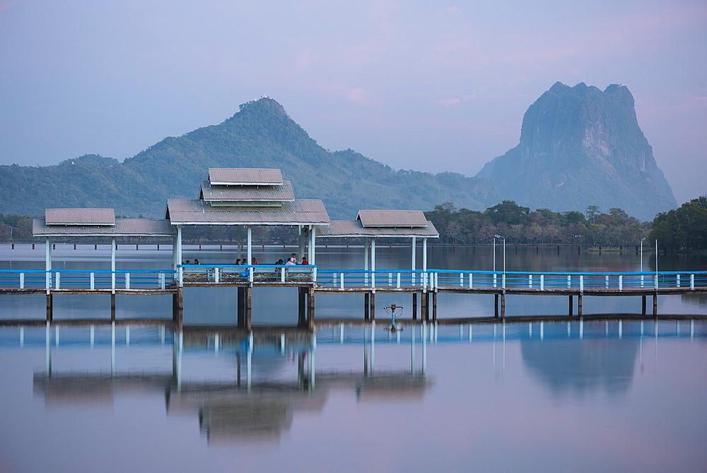Thar Yar Lake at dusk, Hpa-an, Kayin State, Myanmar (Burma), Asia
