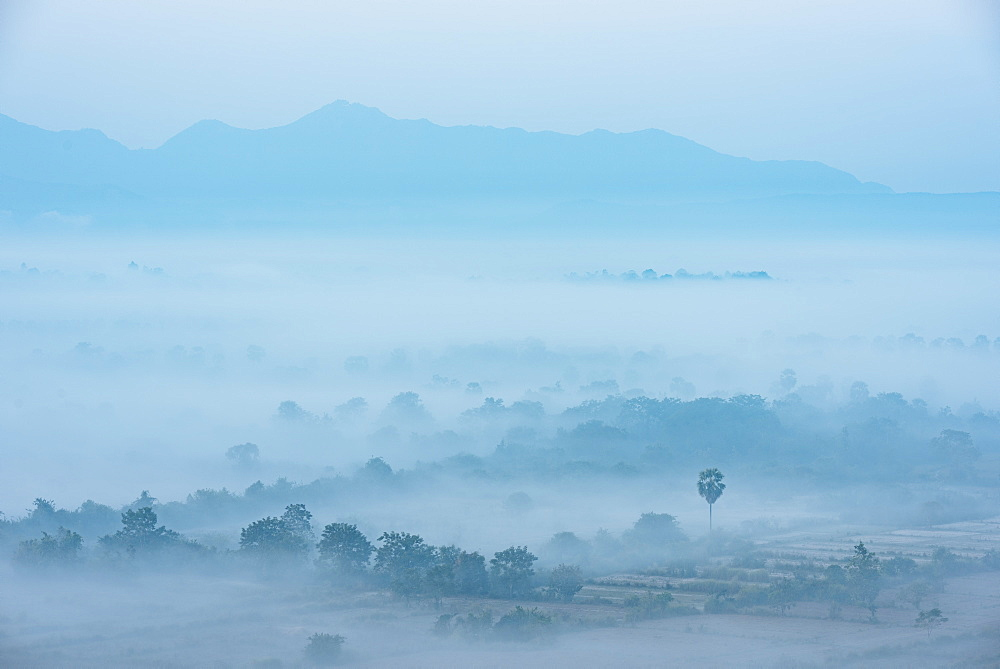 View from Kaw Gon Pagoda at dawn, Hpa-an, Kayin State. Myanmar, Asia