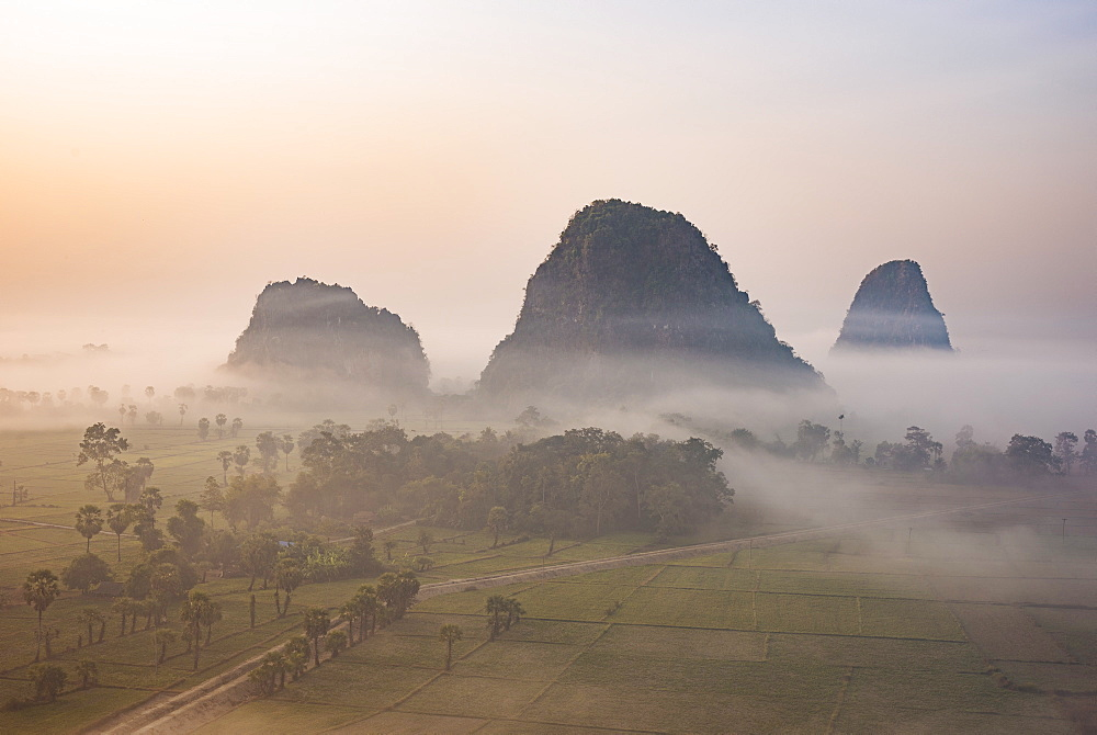 View from Kaw Gon Pagoda at dawn, Hpa-an, Kayin State, Myanmar (Burma), Asia - 848-1343